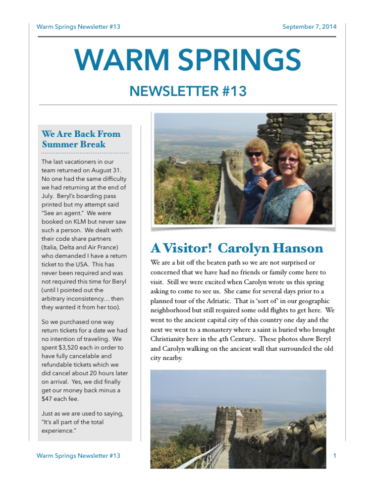 Warm Springs Newsletter 13 Sept 7